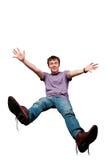 Happy man. Happy casual funny man isolated Stock Photos
