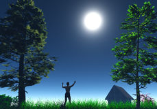 Happy man. In the moonlight thankfully rising his hands, 3D render Royalty Free Stock Photos