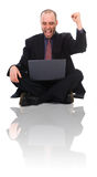 Happy Man. Happy business man on a laptop on white stock photo