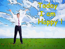 Happy man on abstract design background. Stock Image