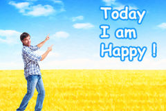 Happy man on abstract design background. Stock Photos
