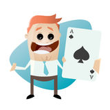 Happy man with ace of spades. Illustration of a happy man with ace of spades Royalty Free Stock Photo