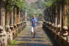 Happy man in the Alfabia garden Stock Images