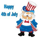 Happy 4th july independence day. Happy man in American costume with date of independence Royalty Free Stock Image