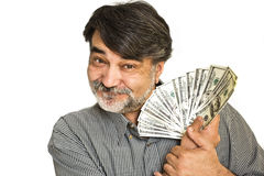 The happy  man with american dollars Royalty Free Stock Image