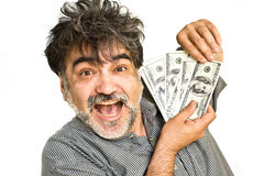 The happy  man with american dollars Stock Photo