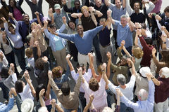 Happy Man Amidst Crowd royalty free stock photo