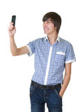 Happy man answering the phone Royalty Free Stock Photos
