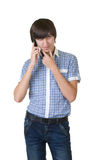 Happy man answering the phone Royalty Free Stock Image