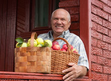 Happy   man  with  apples Stock Photo