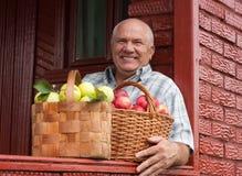Happy   man  with  apples Stock Photo