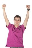 Happy man with arms up Royalty Free Stock Images