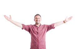 Happy man with arms wide open. Outstretched or outspread Royalty Free Stock Image