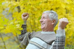Happy man in autumn park Stock Images