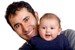 Happy man with a baby Stock Images