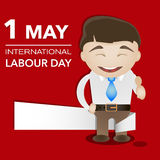 Happy man with banner international labour day. Vector illustration Royalty Free Stock Photography