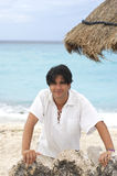 Happy man in beach. Happy man in vacations in a cancun beach Royalty Free Stock Photo