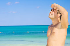 Happy man on the beach Royalty Free Stock Photo