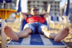 Happy man on beach Stock Image