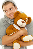 Happy man with bear Royalty Free Stock Photography