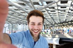 Happy man with beard taking selfie royalty free stock image