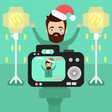 Happy man with a beard wearing a Christmas hat is photographed. In the Studio. camera with flash. flat style.vector vector illustration