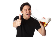 Happy man with beer Royalty Free Stock Photography