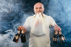 Happy man with a beer Royalty Free Stock Image