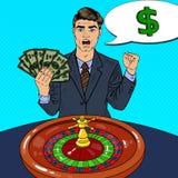 Happy Man Behind Roulette Table Celebrating Big Win. Casino Gambling. Pop Art Stock Photo