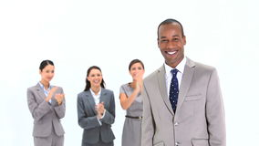 Happy man being congratulated by his team Royalty Free Stock Photo