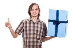 Happy man with big present Stock Images