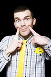 Happy Man With Big Smile On Black Background Royalty Free Stock Photo