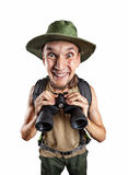 Happy man with binocular. And backpack isolated on white background with clipping path Royalty Free Stock Image