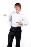Happy Man with blank Isolated on white. Background Royalty Free Stock Photography