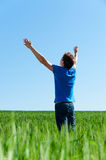 Happy man in blue t-shirt Stock Photography