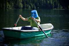 Happy man on the boat Stock Image