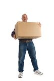 Happy man with a box Stock Images