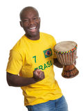 Happy man from brazil with drum Royalty Free Stock Photography