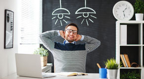 Happy man businessman, freelancer, student working at computer a. T home and office Royalty Free Stock Photo