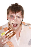 Happy man with cake on birthday. Royalty Free Stock Photo