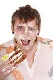 Happy man with cake on birthday. Royalty Free Stock Photo