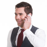Happy man calling by mobile. Stock Images