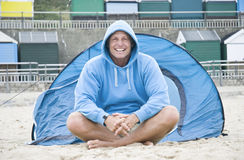 Happy man camping. Royalty Free Stock Photos