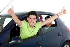 Happy man in a car Royalty Free Stock Photo