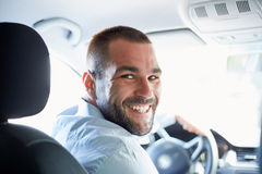 Happy man in car Royalty Free Stock Photo