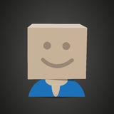 Happy man with cardboard box stock illustration