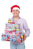 Happy man carry Christmas gifts Royalty Free Stock Photo