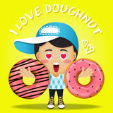 Happy man carrying big doughnut or donuts Royalty Free Stock Photos