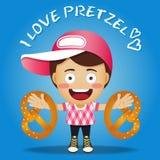 Happy man carrying big pretzel Stock Image