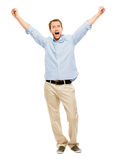 Happy man celebrating arms up success Royalty Free Stock Image
